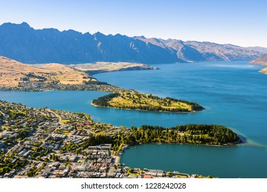 Beautiful panoramic aerial view of Ben Lomond Lake Scenic reserve with mountains in the background, Queenstown, New Zealand.