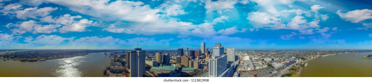 Beautiful panoramic aerial view of New Orleans at dusk.