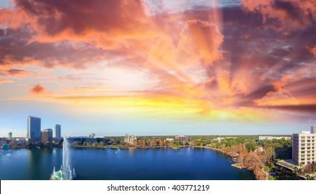 Beautiful panoramic aerial view of Orlando from Lake Eola.
