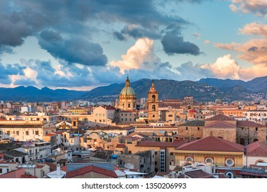 Beautiful panoramic aerial view of Palermo at sunset, Sicily, Italy