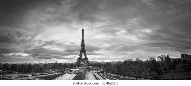 Beautiful  panoramic cityscape. Dramatic cloudscape. View of the Eiffel Tower from the Trocadero. BW photography. France. Paris.