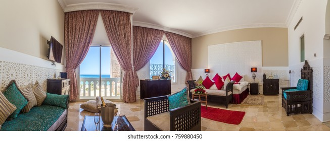 Beautiful panoramic hotel room suite in arabic style