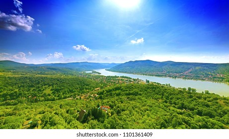 Beautiful panoramic image of the river valley of Duna, at Visegrad, Hungary.