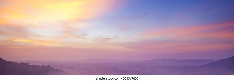 Beautiful panoramic landscape with colorful twilight sky