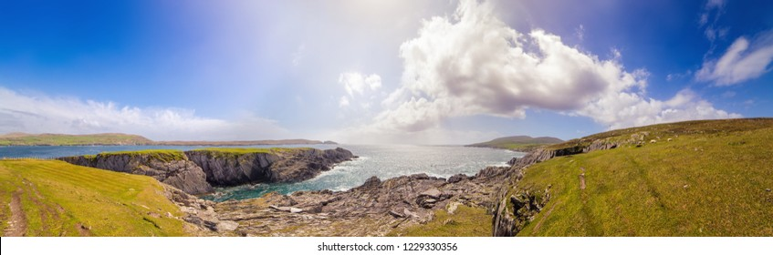 Beautiful panoramic landscape in Dursey Island. County Cork, Ireland.