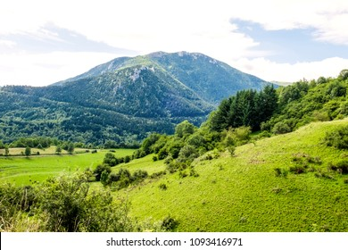 Beautiful panoramic landscape of the Pyrenees mountain valley with blooming meadow, rocky cliff with green grass, forest and stormy cloudy sky  from the ruins of cathar fortress Montsegur in France
