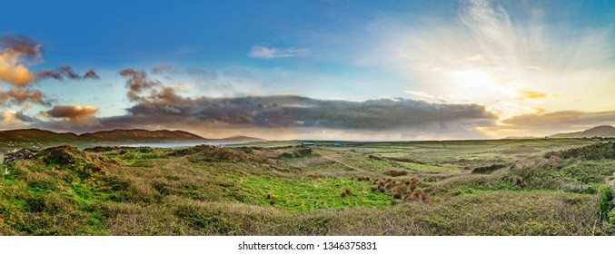 Beautiful panoramic landscape with sunset in spring in south west of Ireland.