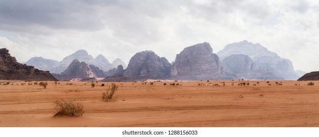 Beautiful Panoramic Martian Landscape in Wadi Rum Desert, Jordan.