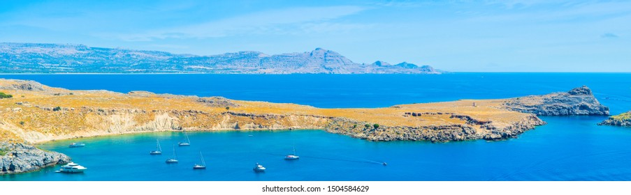 Beautiful panoramic mediterranean landscape of Lindos Bay on the Rhodes island, Greece