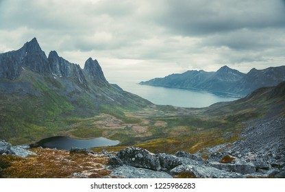 Beautiful panoramic nature in the mountains, the miracle of nature. View from a ridge between Segla and Hesten, Senja, Norway, Autumn 2018
