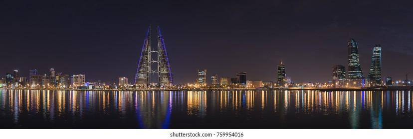 Beautiful panoramic night lights of Manama sky line.