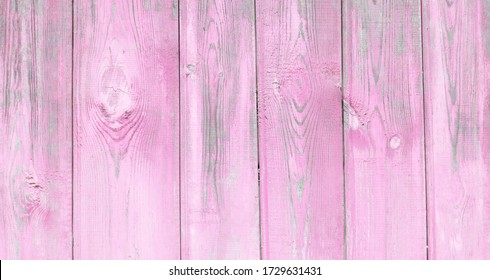 Beautiful panoramic old shabby pink wood background. Wooden vintage style texture. Large wood surface wall with peeling paint. Wide angle rustic wallpaper or web banner with copy space.
