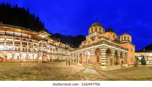 Beautiful panoramic panorama at night of the Orthodox Rila Monastery, a famous tourist attraction and cultural heritage monument in the Rila Nature Park mountains in Bulgaria