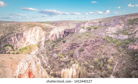 Beautiful panoramic photo of a canyon at the Dulce river in the Natural park called Barranco del Rio Dulce near Sigüenza town in Castile-La Mancha, Spain. Fascinating and tranquil Spanish landscape.
