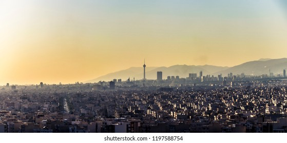 Beautiful panoramic photo of Tehran skyline with Milad tower in the middle.cityscape of capital of Iran.