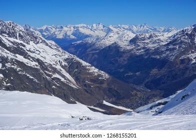 Beautiful panoramic scenery of snow mountain and the town at Zermatt,  Switzerland