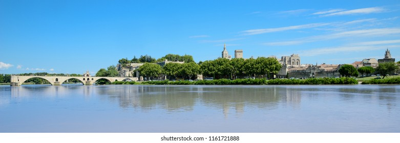 beautiful panoramic scenic skyline landscape of famous landmark Avignon bridge on Rhone river southern France