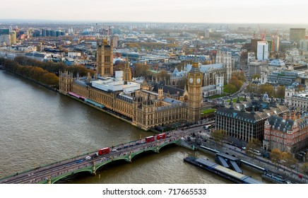 Beautiful panoramic scenic view on London's southern part from window of London Eye tourist attraction wheel cabin: cityscape, Westminster Abbey, Big Ben, Houses of Parliament and Thames river