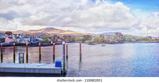 Beautiful panoramic sunset landscape in a Castletownbere town.View from the harbor. County Cork, Ireland
