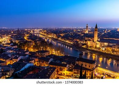 Beautiful panoramic sunset view of Verona, Veneto region, Italy