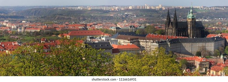 Beautiful panoramic view from above to Prague in the spring