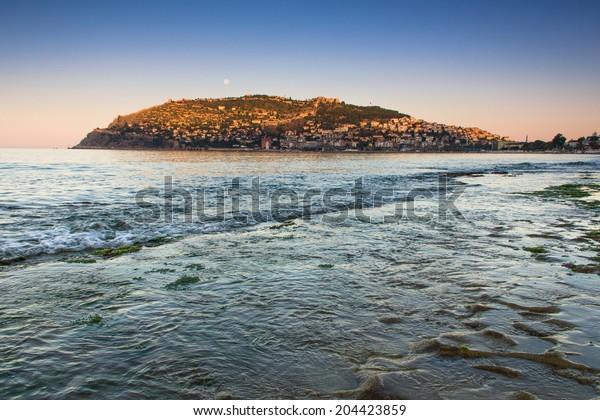 Beautiful panoramic  view of  Alanya peninsula, Mediterranean sea, Turkey.
