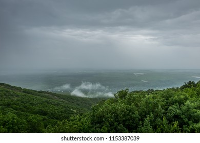 Beautiful panoramic view of the Alazani valley. Sighnaghi, Georgia. Region of Kakheti. Spring or summer cloudy stormy sky.