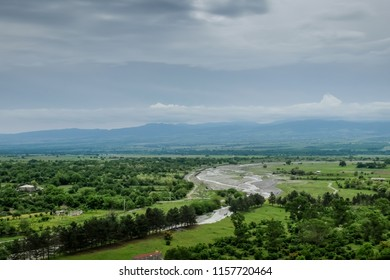 Beautiful panoramic view of the Alazani valley. Georgia. Region of Kakheti. Spring or summer cloudy stormy sky.