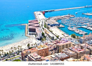 Beautiful panoramic view of Alicante beach and harbor from above. Alicante is a city and port in Spain on the Costa Blanca, at the Mediterranean Sea.
