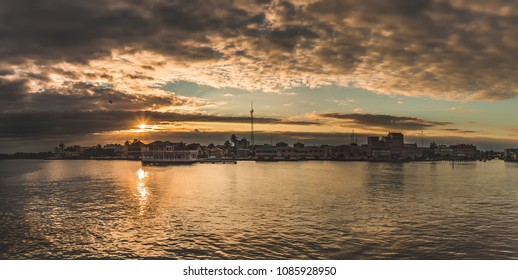 Beautiful panoramic view of Belize city at sunset
