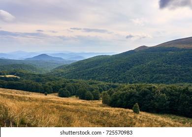 Beautiful panoramic view of the Bieszczady mountains in the early autumn, Bieszczady National Park (Polish: Bieszczadzki Park Narodowy), Poland.