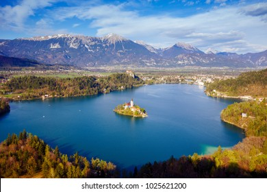 Beautiful panoramic view of Bled Lake, Slovenia, Europe