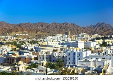 Beautiful panoramic view at the capital of Oman Muscat