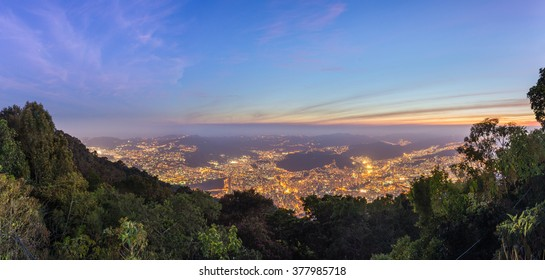 Beautiful panoramic view of Caracas, capital city of Venezuela, at sunset, from the top of the Avila mountain, at sunset.
