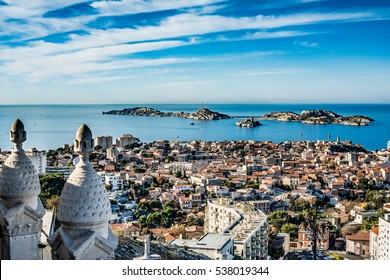 beautiful panoramic view of the city of Marseille, France