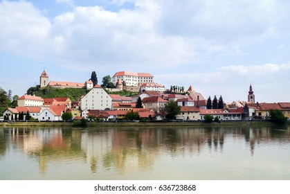 Beautiful panoramic view of city Ptuj Slovenia. Slovenia, old city Ptuj and river Drava, castle and church, panoramic view. Romantic old city of Ptuj, the oldest city in Slovenia.