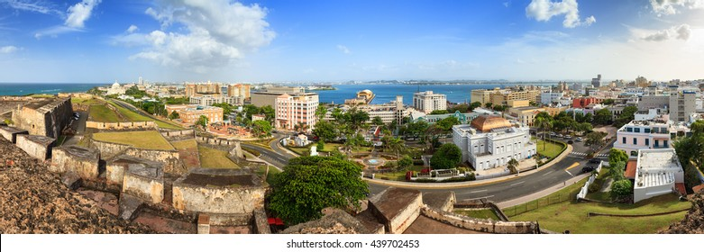 Beautiful panoramic view of the cityscape of San Juan, Puerto Rico, seen from San Cristobal