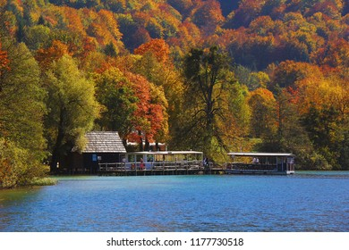 Beautiful Panoramic view colorful of tree leaves lake in plitvice National Park Croatia from boat.in autumn season.
