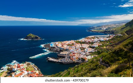 beautiful panoramic view of a cozy Garachico town, Tenerife, Canary Islands, Spain