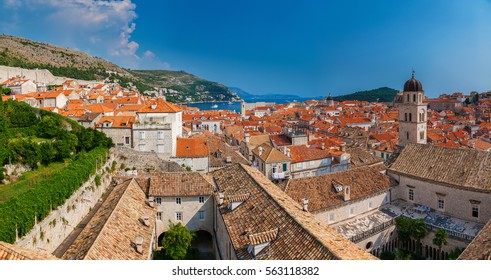 beautiful panoramic view of the Dubrovnik old town from the city walls, Croatia