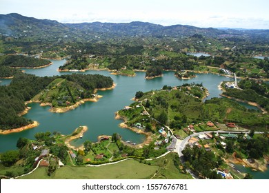 A beautiful panoramic view of El Penol Reservoir Lake from the giant Guatape Rock in Medellin Colombia.