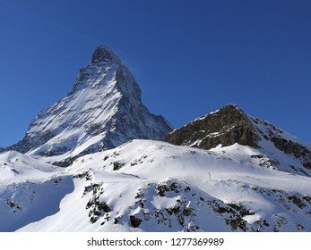Beautiful panoramic view of the famous snow-capped Matterhorn in the Swiss Alps near Zermatt, in canton of Wallis