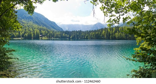 beautiful panoramic view of fusine mountain lake, italy