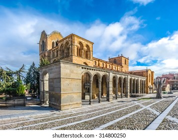 Beautiful panoramic view of the historic Basilica de San Vicente in Avila, Castilla y Leon, Spain