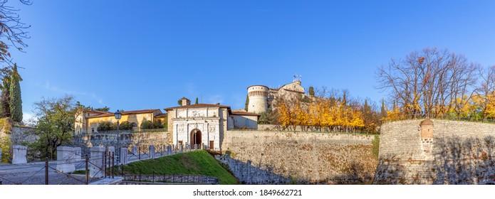 Beautiful panoramic view of the historic castle of Brescia (autumn season)