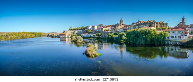 Beautiful panoramic view of historic city Alba de Tormes, Castilla y Leon region, Spain