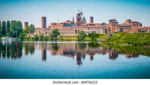 Beautiful panoramic view of the historic city of Mantua in Lombardy, Italy