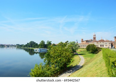 Beautiful panoramic view of the historic city of Mantua with the river Mincio, Lombardy, Italy