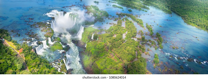 Beautiful panoramic view of Iguazu Falls from the helicopter ride, one of the Seven Natural Wonders of the World - Foz do Iguaçu, Brazil