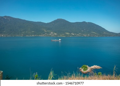 Beautiful panoramic view of Ilhabela island and coast of Sao Sebastiao, tropical island on the Brazilian sea coast during a sunny day of vacation and sightseeing.